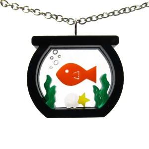 goldfish aquarium pendant on white background