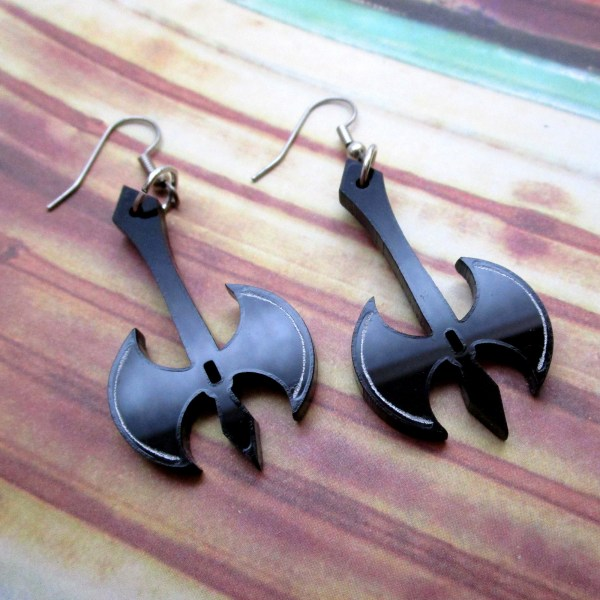 Large Medieval double edge battle axe ax black goth reaper dangle earrings jewelry