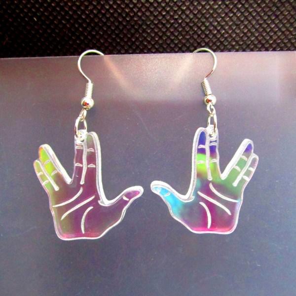 rainbow vulcan hand salute spock earrings