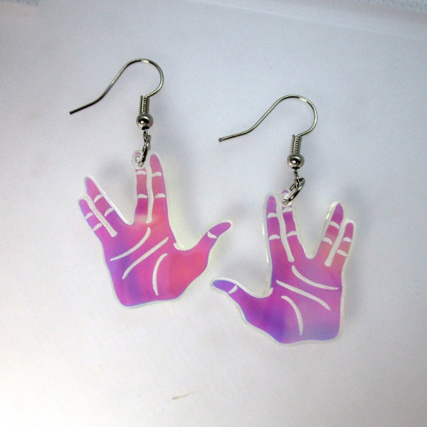 vulcan salute hands earrings