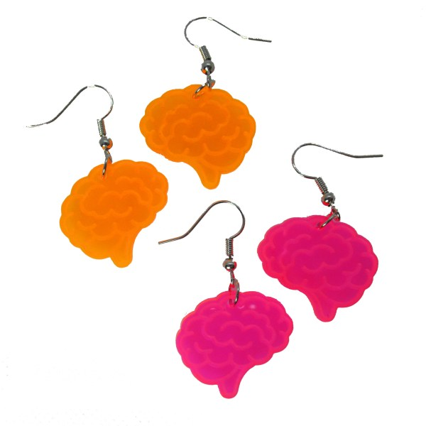 orange and pink brain sheped earrings on white background