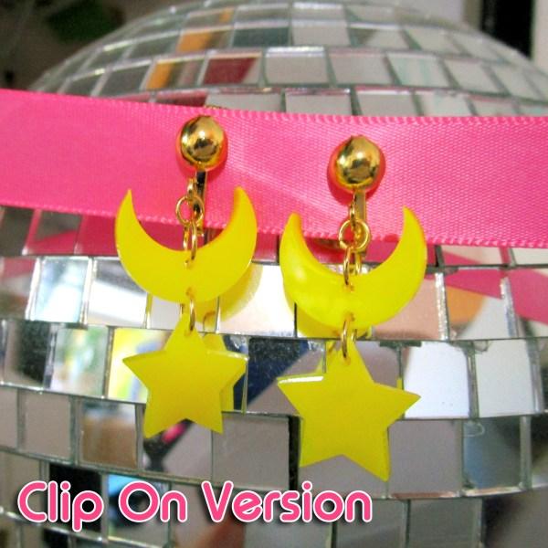 Sailor moon crystal senshi moon star dangle clip on earrings version