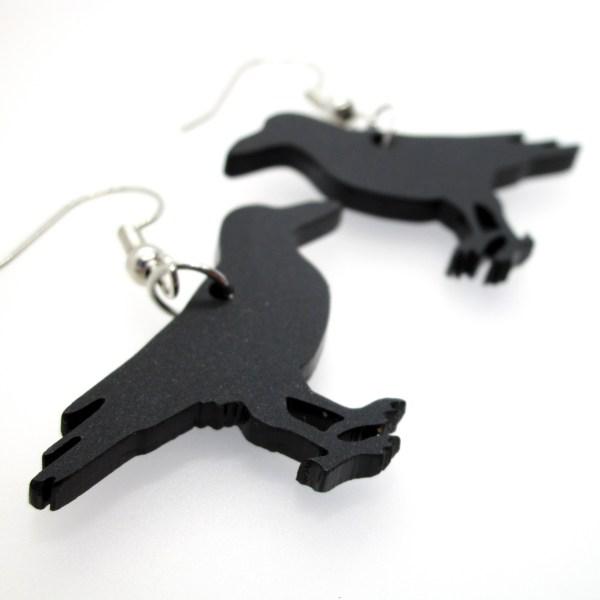black raven crow silhouette dangle earrings