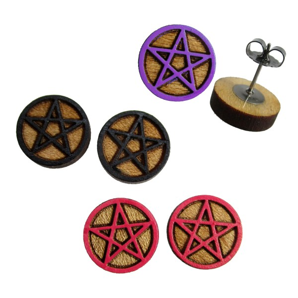 wicca five pointed star pentagram drawing wood stud earrings in the color of your choice for witches and to summon spirits