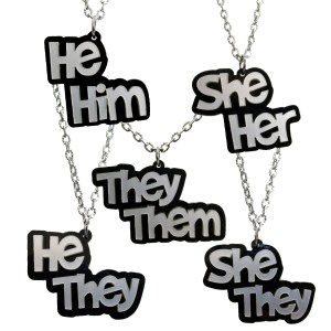Pronoun Pendant Necklace They Them She Her He Him she they he they Silver and Black Transgender pronoun necklace jewelry