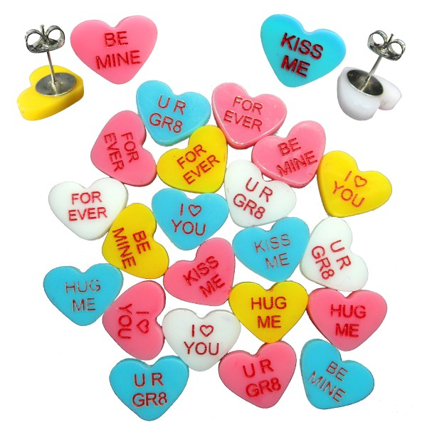 Valentines Day CAndy Message Hearts made of acrylic stud earrings