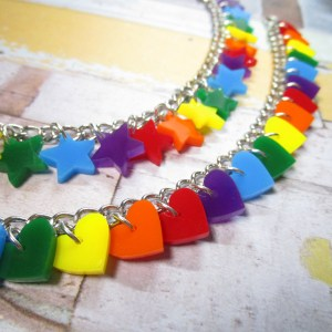 ROYGBV Rainbow heart or star charm bracelet