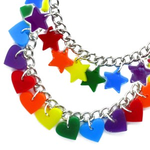 Hearts or Stars ROYGBV Rainbow Charm Bracelet LGBT Gay Flag Pendants zoomed in together