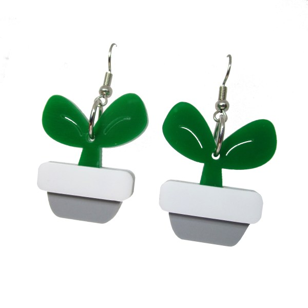 Potted Seedling Sprouted plant nursery fun cute plastic dangle earrings for botanists or plant enthusiasts