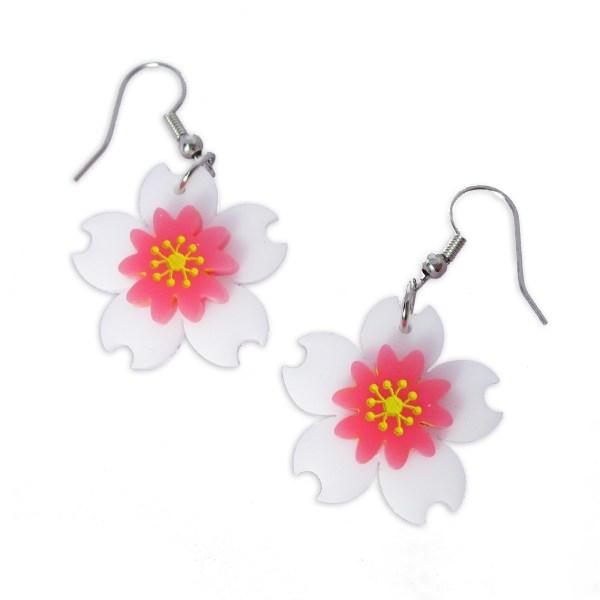 sakura flower spring time summer plants flowers dangle statement earrings
