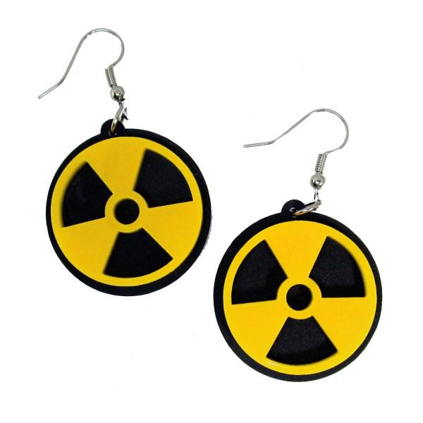 biohazard nuclear warning symbol black and yellow atom bomb logo dangle earrings