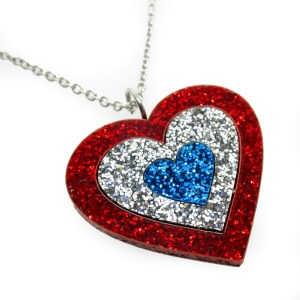 fourth of july red white and blue glitter heart pendant necklace patriotic