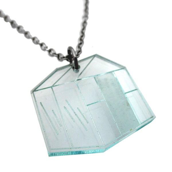 greenhouse shape glass colored plastic arboretum pendant necklace