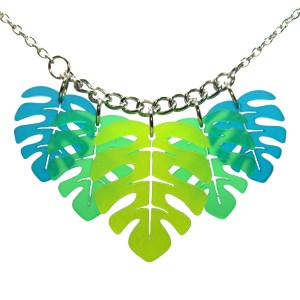 Monstera Leaf Leaves statement pendant necklace with leaves that are chartreuse teal and green on chunky chain