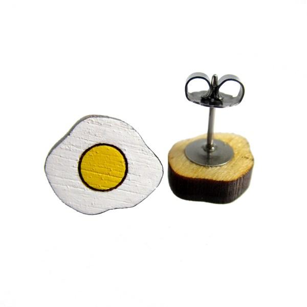 little fried egg stud wood painted earrings