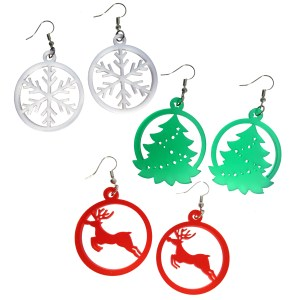 Big Large Christmas Xmas Ornament Snowflake Raindeer reindeer evergreen tree shape pendant Dangle Earrings Red Green White Color