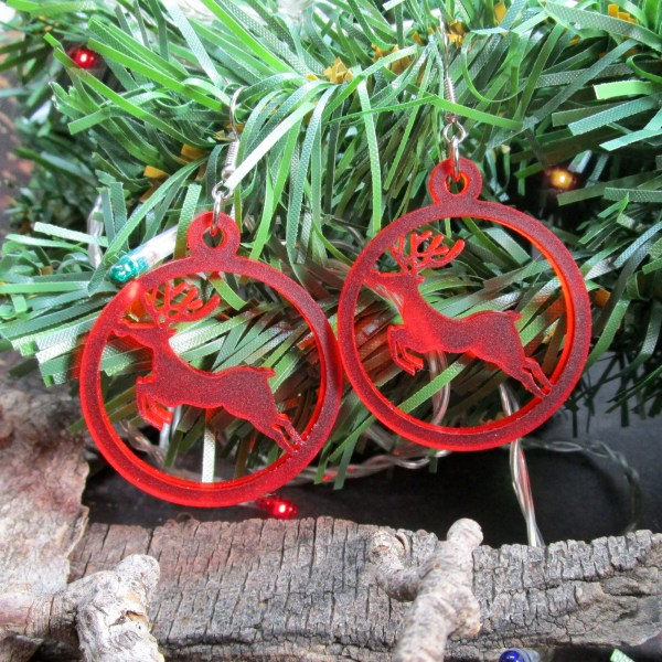 Big Large Christmas Xmas Ornament Snowflake Raindeer reindeer evergreen tree shape pendant Dangle Earrings Red Green White Color