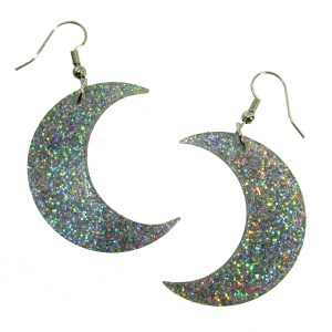 Iridescent cofetti glitter large big moon dangle pendant earrings