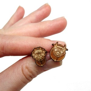 labyrinth door knocker little wooden stud earrings