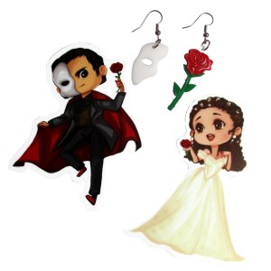 phantom of the opera asymetrical mismatch face mask and red rose earring set with phantom and christine character sticker gift set