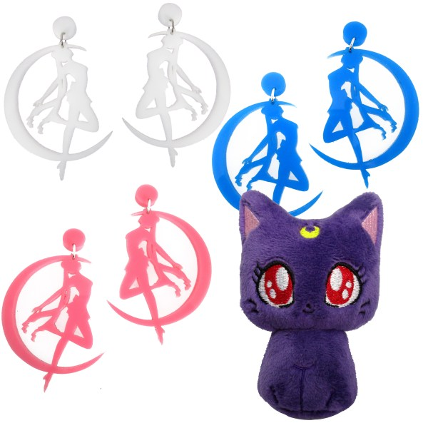 sailor moon transformation stud dangle earrings pick color with luna cat plush gift set copy