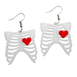 Goth Love Skeleton Ribcage Bone Cute Heart Halloween Kowai Dangle Earrings