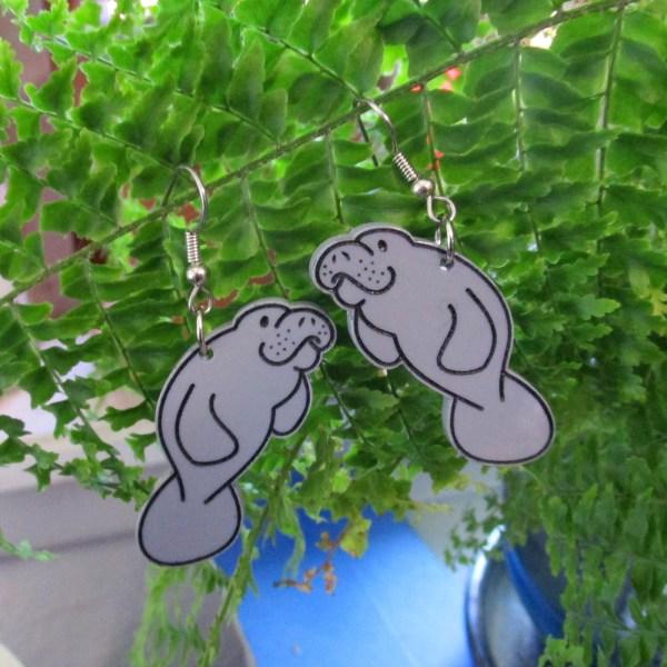 Gray Cute Manatee Sea Cow Cartoon Shape Light big dangle statement earrings jewelry
