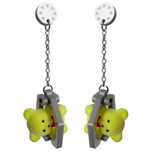 Claw Machine Teddy Bear Winner Win Eclectic Harajuku Decora Yellow Bear super cute dangle stud earring mechanical
