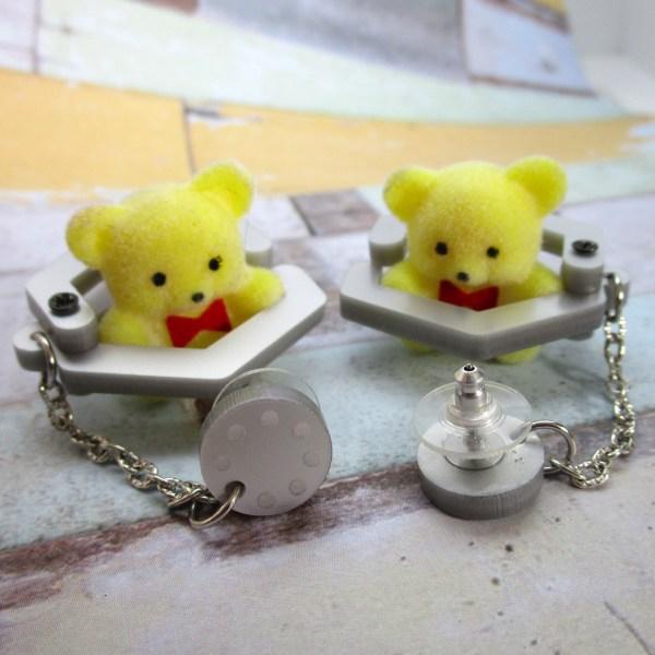 Claw Machine Teddy Bear Winner Win Eclectic Harajuku Decora Yellow Bear super cute dangle stud earring mechanical
