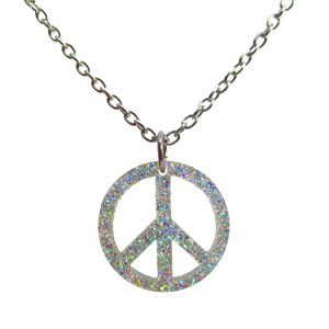 Iridescent Glitter Big Peace Sign pendant necklace HIppie boho classic peace symbol jewelry