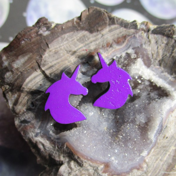 cute little hand painted unicorn bust colorful wooden stud earrings jewelry