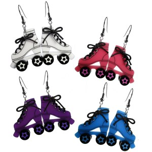 Big D Roller Skate Skates colorful dangle rollerskates earrings derby skater girl jewelry