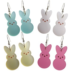 Easter Bunny Rabbit Peeps Candy Big Dangle Earrings lightweight pink green white yellow bunny peep shape jewelry