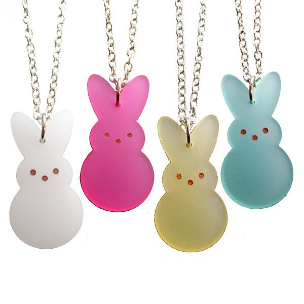 Easter Bunny Rabbit Peeps Candy Big pendant necklace pink green white yellow bunny peep shape jewelry
