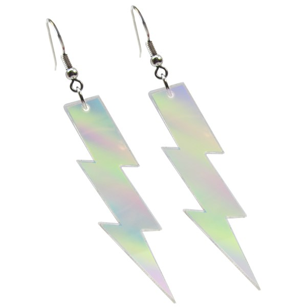 Iridescent Rainbow big large lightning aesthetic goth rave dangle earrings jewelry