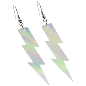 Iridescent Rainbow big large lightning aesthetic goth rave dangle earrings jewelry
