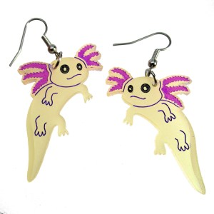 Axolotl Mexican Walking Fish Amphibian Endangered Animal Aquatic Pet Dangle Earrings Jewelry