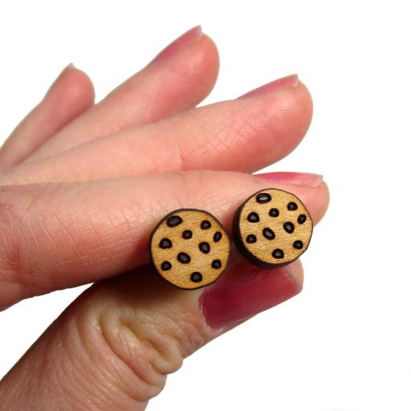 Chocolate Chip Cookies Wooden Wood Stud Earrings Dessert Food Jewelry
