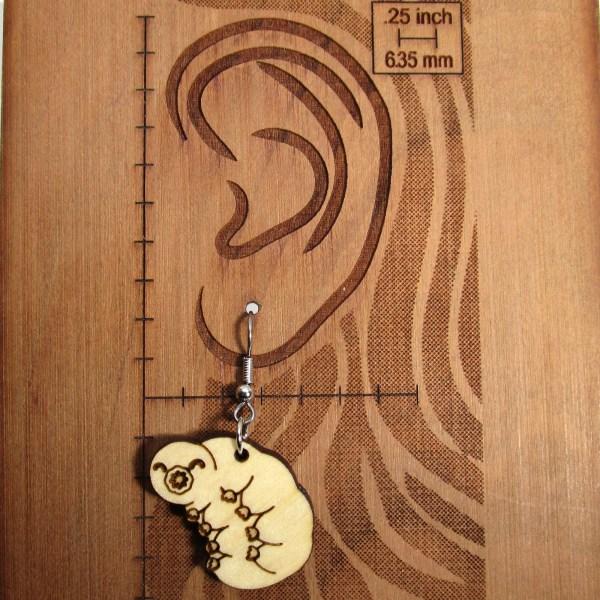 Tardigrade Water Bear Moss Piglet Pendant Wood Statement Dangle Earrings Science Jewelry
