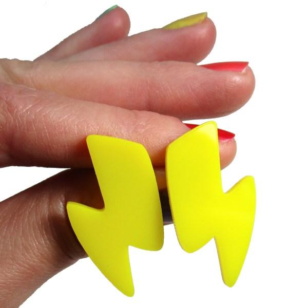 Big Large Cartoon Cartoony Yellow Lightning Bolt Cosplay Costume Stud Earrings mitchells machines inspired