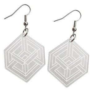 Impossible Cube Optical Illusion M.C. Escher Art Museum Illusion Necker Cube Magic Silver Glitter Statement Dangle Earrings