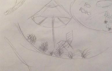 representational chairs & umbrella