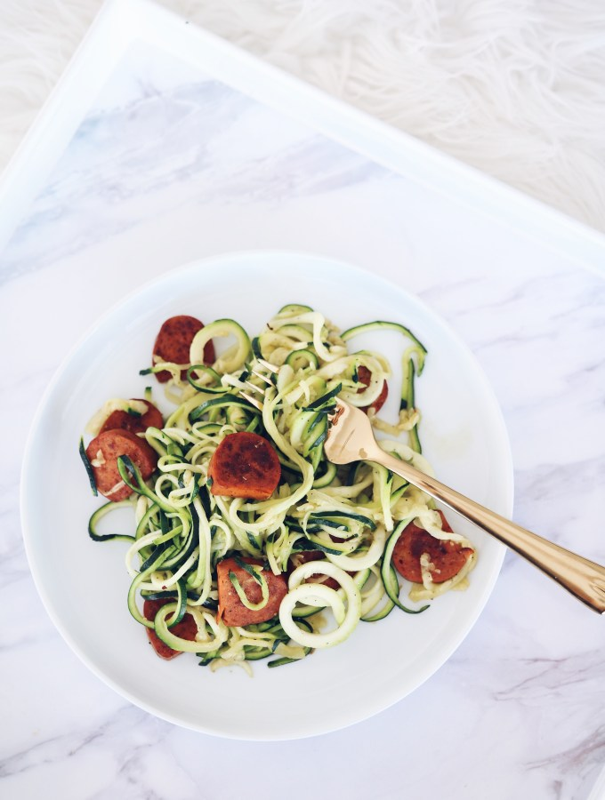 Spicy Sausage & Zucchini Noodles