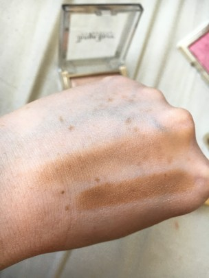 Contour stick swatched, top swatch is blended