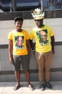 YELLOW TEAM: ANC supporters smile for the camera.