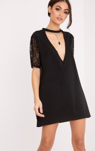 black lace tshirt dress