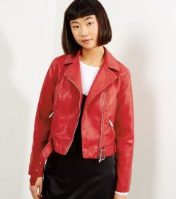 red leather jacket new look