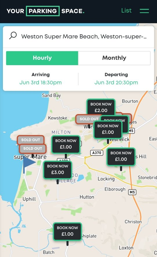 yourparkingspace app map