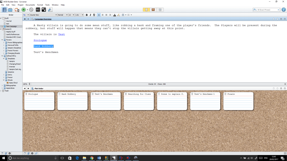 Scrivener: A Tool for writers and Gamesmasters