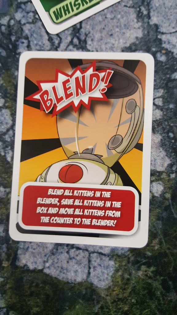 One of the keye game elements in Kittens in a Blender is the Blender Card. Triggering the blender elminates all Kittens in the Blender, but also saves all kittens in the box